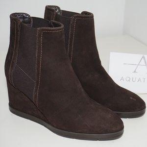 Aquatalia Waterproof Wedge Heel Bootie Brown